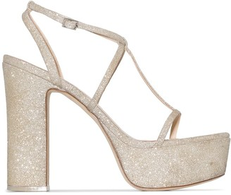 Cult Gaia Angela 120mm glitter platform sandals