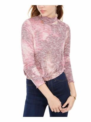 Love, Fire LOVE FIRE Womens Pink Patterned Long Sleeve Mock Top Juniors Size: XS