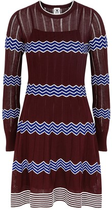 M Missoni Bordeaux zigzag cotton-blend mini dress