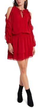 1 STATE Cold-Shoulder Ruffled-Sleeve Dress