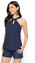 New York & Co. 7th Avenue - Keyhole Halter Blouse - Polka Dot