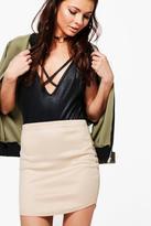 Boohoo Isia Curved Hem Wet Look Scuba Mini Skirt