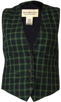 Denim & Supply Ralph Lauren Green Plaid Women's Vest Blue S