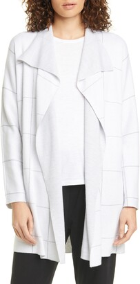 Eileen Fisher Windowpane Check Double Knit Cardigan