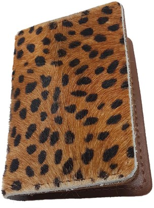 N'damus London Cheetah Print & Tan Leather Credit Card Holder