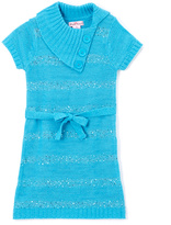 Pink Angel Turquoise Sequin Tie-Waist Split-Neck Dress - Girls