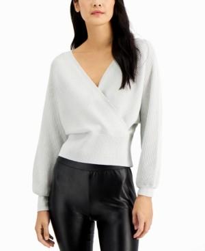 INC International Concepts Inc Petite Metallic Surplice Sweater, Created for Macy's
