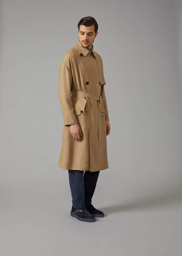 Giorgio Armani Washed Natte Cupro Trench Coat