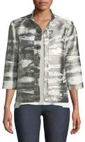 Misook Graphic Metallic Short Jacket, Plus Size