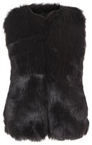 Molo Herminia Faux-Fur Vest, Black, Size 3-14
