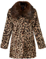 Unreal Fur Venus Chocolate Collar Leopard Print Faux Fur Coat