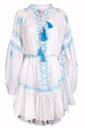 Pranella - Daisy Dress White Aqua - O/S