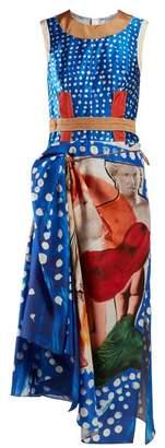 Marni Polka-dot Silk-satin Midi Dress - Womens - Blue Multi