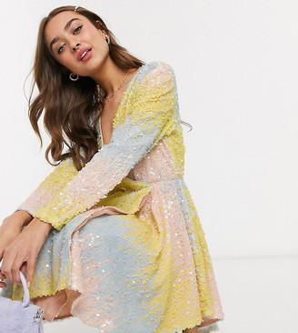 Collective The Label Petite ombre sequin wrap mini dress