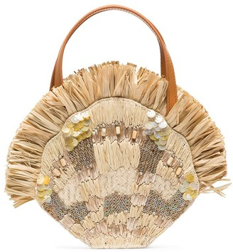 Aranaz Serena raffia and shell mini bag