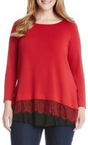 Karen Kane Plus Size Women's Lace Peplum Pullover