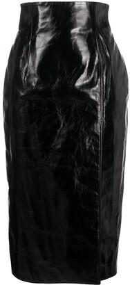 16Arlington Leather Midi Pencil Skirt