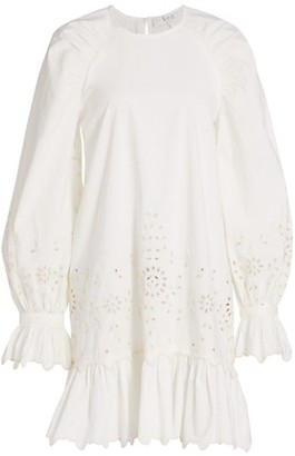 Sea Fern Balloon-Sleeve Eyelet Tunic Dress
