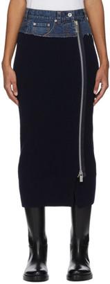 Sacai Navy Denim and Wool Skirt