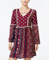 Sequin Hearts Sequin Heart Juniors' Printed Crepe Shift Dress