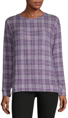 Liz Claiborne Long Sleeve Printed Sweatshirt - Tall