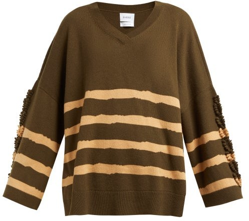 Barrie Fancy Coast Striped Cashmere Sweater - Womens - Green Multi