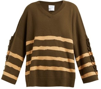 Barrie Fancy Coast Striped Cashmere Sweater - Green Multi