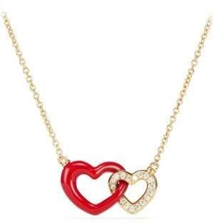 David Yurman Double Heart Pendant Necklace With Diamonds, Red Enamel& 18K Gold