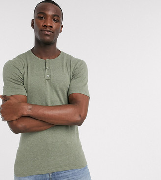 ASOS DESIGN Tall knitted muscle fit grandad neck t-shirt in khaki