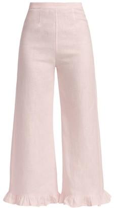 Faithfull The Brand Selma Ruffle-Trimmed Linen Wide-Leg Trousers