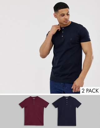 French Connection 2 pack grandad collar t-shirts-Navy