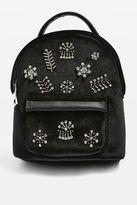 Topshop BLING Mini Velvet Diamante Backpack