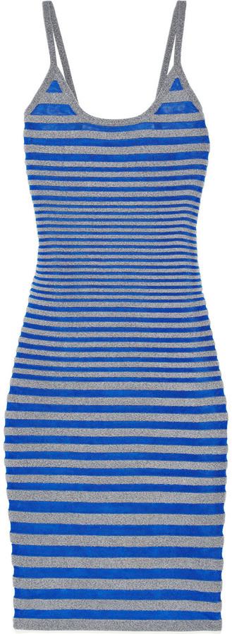 Alexander Wang Striped stretch-fleece and satin-jersey dress