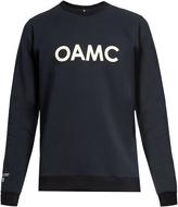 Oamc Leather-appliqué cotton-blend sweatshirt