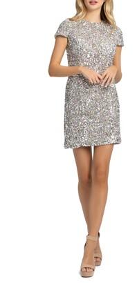 Mac Duggal Sequin Cap Sleeve Minidress