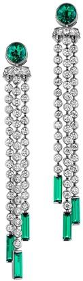 Swarovski Mosaic Pompon Drop Earrings Created Emeralds