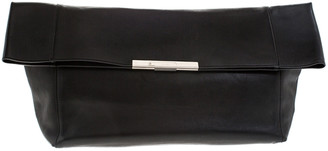 Celine Black Leather Cabas Fold-Over Clutch