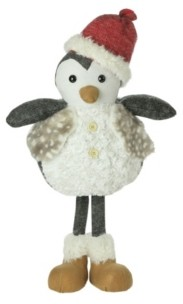Northlight Plush Standing Penguin Christmas Figure Wearing a Fur Vest 24 Inches
