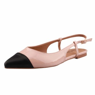 BEIGE Fingertip Ballet Women Slingback Dress Pumps Low Heels Flats Pointed Toe Sandals Shoes