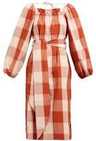 Belize - Greta Shoulder-tie Checked Cotton Dress - Womens - Red Multi