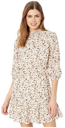 American Rose Eden Mock Neck 3/4 Sleeve Floral Dress (Ivory/Mauve) Women's Dress