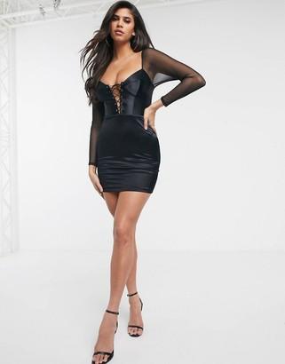 Asos DESIGN satin cupped lace up mesh sleeve mini dress