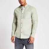 Mens River Island Green garment dyed regular fit shirt