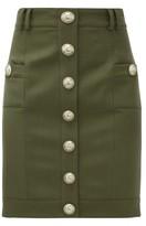 Balmain Buttoned High-rise Wool Mini Skirt - Womens - Khaki