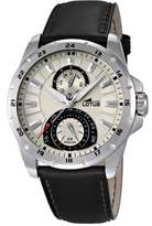 Lotus Men's Quartz Watch with Beige Dial Analogue Display and Black Leather Strap 15844/1