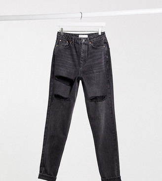 Topshop Tall ripped mom jeans in washed black