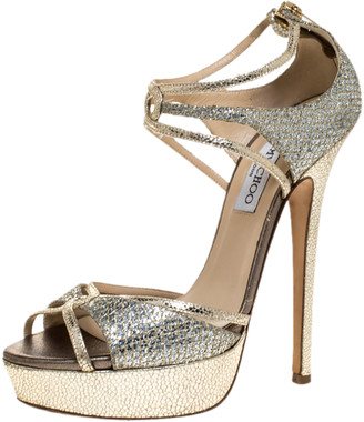 Jimmy Choo Gold Glitter Leather Platform Ankle Strap Sandals Size 39