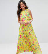 Asos Pleat Skirt Floral Maxi Dress