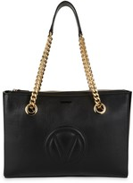Mario Valentino Floralie Leather & Chain Strap Shoulder Bag