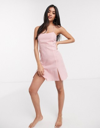 Fashion Union beach mini cami dress in pink gingham